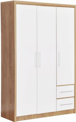 Seville 3 Door 2 Drawer Wardrobe WHITE
